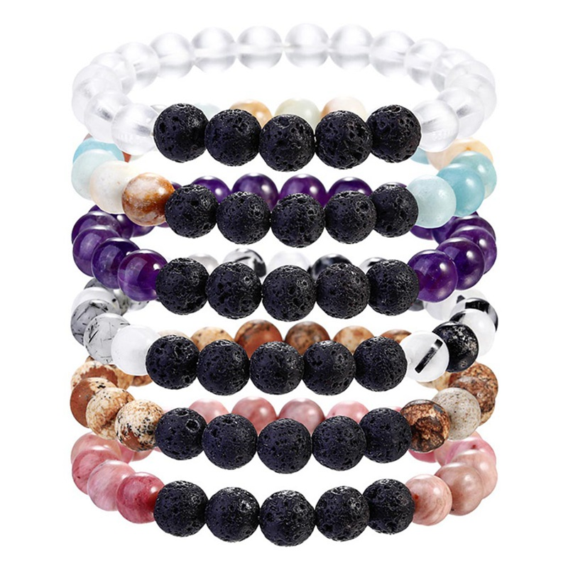 Crystals Wrist Mala Beads bracelet Women Pink bracelet RoseQuartz & Volcanic Lava Yoga Bracelet