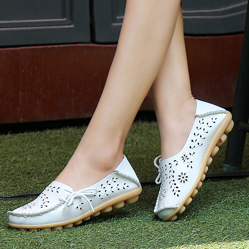 Large size 35 44 Hot ladies Comfortable shoes High Quality Hollow Breathable shoes flat leisure shoes