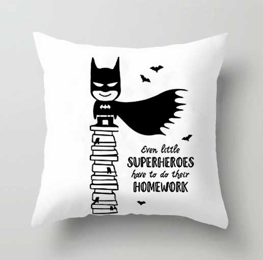Cartoon Batman Cushion Cover Superman Mask Animated Action Figure Anime Plush Pillow Case Superhero Party Supplies For Boy Gift