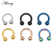 Alisouy 1PC Tiatnium Anodized Circular Barbell Horseshoe CBR Septum Lip Labret Eyebrow Nose Ring Nipple Piercing Body Jewelry(China)