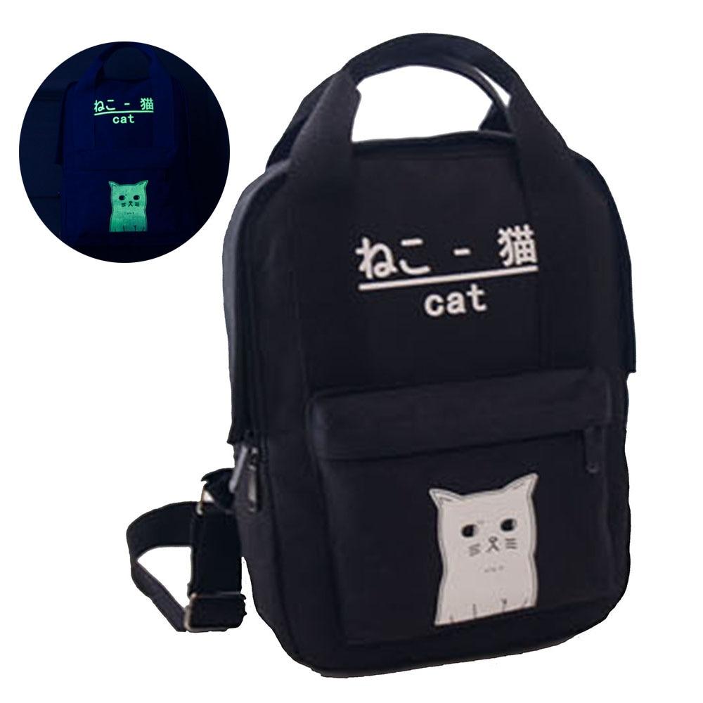 Women Ladies Luminous Cute Harajuku Cat Canvas Casual Daypack School Bags Travel Backpack Rucksack Teenager Girls