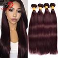 Brazilian Straight Hair Burgundy Brazilian Hair Weave Bundles Straight Hair 4 Bundles Burgundy Weave 99j# Human Hair Gossip Girl