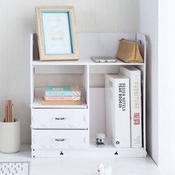 Домашний Органайзер для ванной комнаты, деревянный держатель для книг, аксессуары для офисного стола, шкаф для документов с выдвижным ящико...