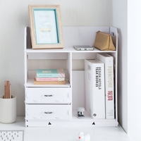 Home Bathroom Desk Organizer Wooden Book Holder Office Desk Accessories File Cabinet With Drawer