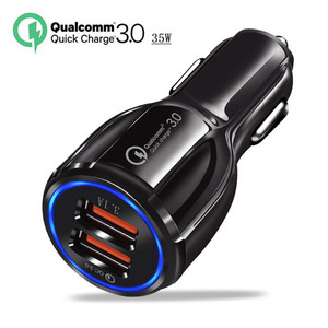 Image 1 - QC3.0 Car Charger Quick Charge 3.0 Mobile Phone Charger 2 Port USB Fast charging for iPhone Samsung Xiaomi Tablet Car Charger