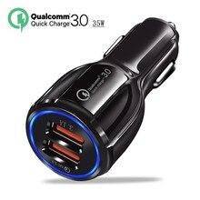 QC3.0 chargeur de voiture Charge rapide 3.0 chargeur de téléphone portable 2 ports USB Charge rapide pour iPhone Samsung Xiaomi tablette chargeur de voiture