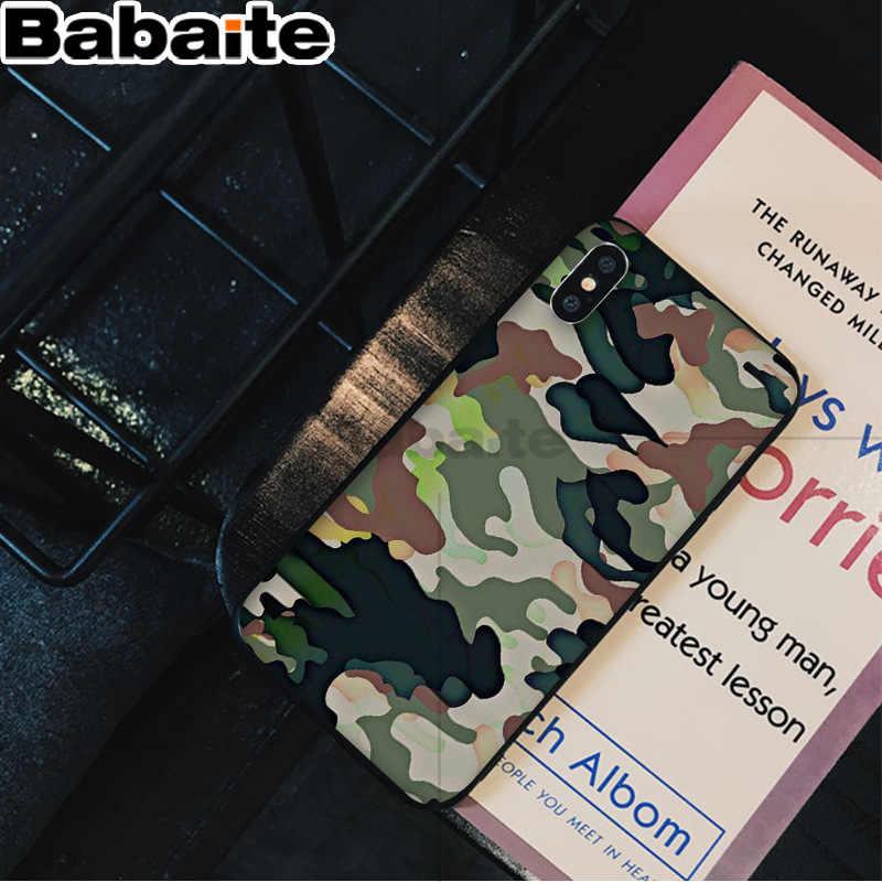 Babaite التمويه نمط كامو العسكرية الجيش لينة المطاط الأسود جراب هاتف لابل آيفون 8 7 6 6S زائد X XS ماكس 5 5s SE XR