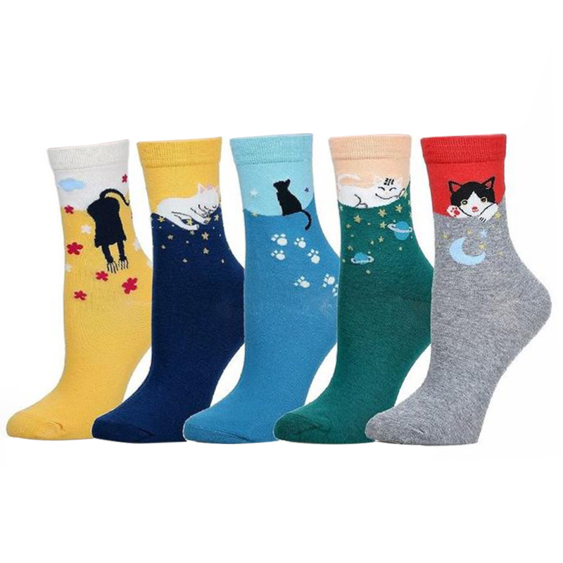 multicolor Cute Cat Harajuku Animal Design Women's Casual Comfortable Cotton Crew   Socks   female autumn winter cotton   socks