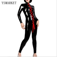 New Womens Sexy Vinyl Leather Catsuit 2017 Hot Pole Dance Latex Fetish Bodysuit Turtleneck Red Lace