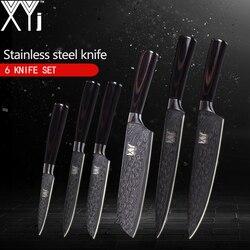 XYj шт. 6 шт. набор кухонных ножей 7Cr17 нож из нержавеющей стали довольно Узорчатая кухонная утварь для очистки овощей сантоку нарезки шеф-повар...