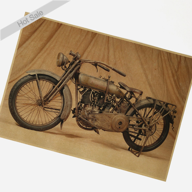 Vintage ROUTE 66 Old Motorcycle Kraft Paper Poster Wall Art Crafts Sticker  Living Room Painting Bar
