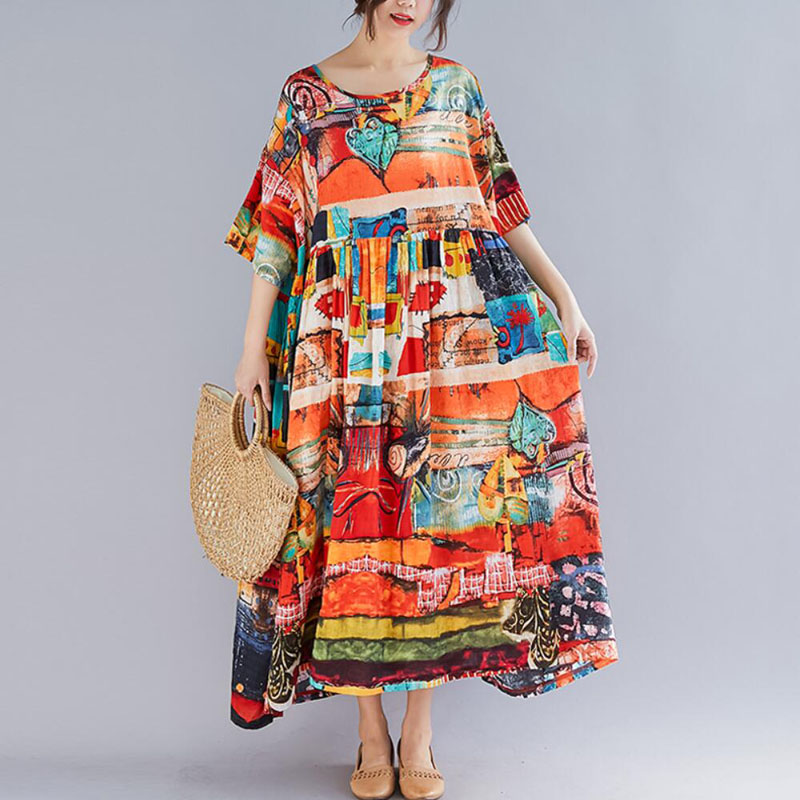 Nefeilike Plus Size Women Print Dress Summer Sundress Cotton and linen Female Lady Loose Casual Holiday Maxi Dress Big Size in Dresses from Women 39 s Clothing