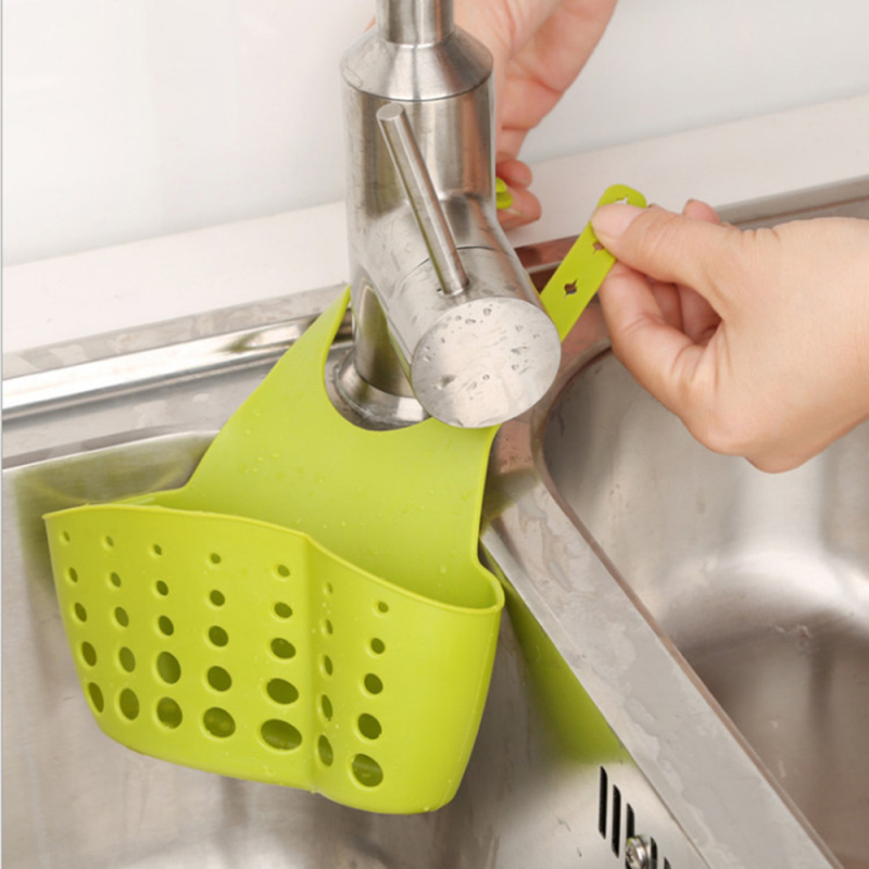 Kitchen Organizer Sponge Storage Hanging Basket Drainer Kitchen Sink Adjustable Snap Sink Rack Hanging Kitchen Holder