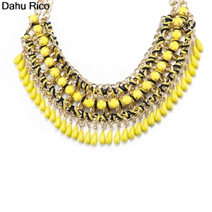 Женское Ожерелье с кулоном longo largos lunghe, желтое ожерелье без воротника, из пластика amarillos, meta Dahu Rico