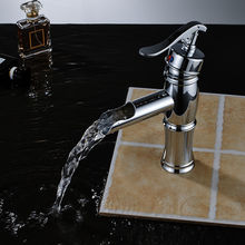 Chrome Finish Waterfall Spout  Basin Faucet Single Handle Hole Bathroom Vanity Sink Faucet Basin Mixer Tap стоимость