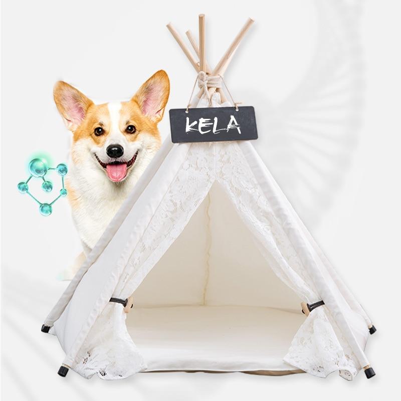 Image 3 - Jormel pet tenda cão cama gato brinquedo casa portátil lavável  animal de estimação teepee listra padrão moda 2019 não incluído  esteiraCasas, canis e canetas