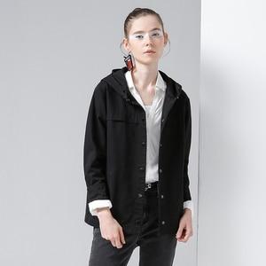 Image 3 - Toyouth back 스트라이프 폭격기 자켓 여성용 새 숏 코트 빈티지 패치 워크 후드 아웃터 코트 루스 코튼 chaqueta mujer