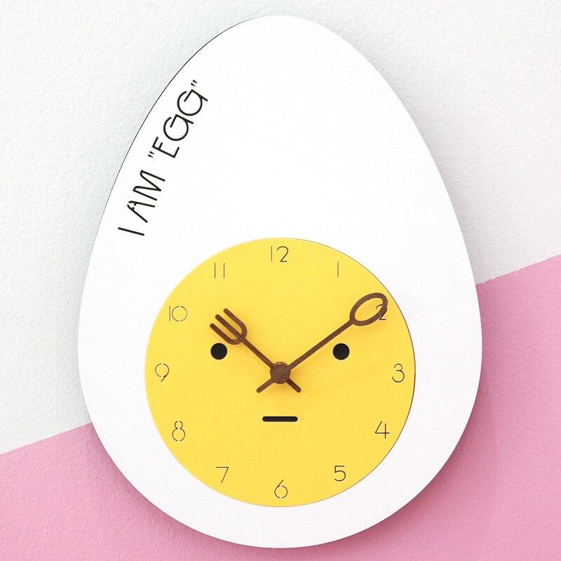 Wooden Wall Clock Modern Design Kitchen Time Cute Cartoon Egg Kids Room Clocks Wall Watch Home Decor Silent 3D Stickers