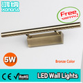 Free Shipping High Quality 5W LED Wall Lamp Bronze Color Stainless Steel Material LED Wall Lights Bathroom Bedroom Mirror Lights