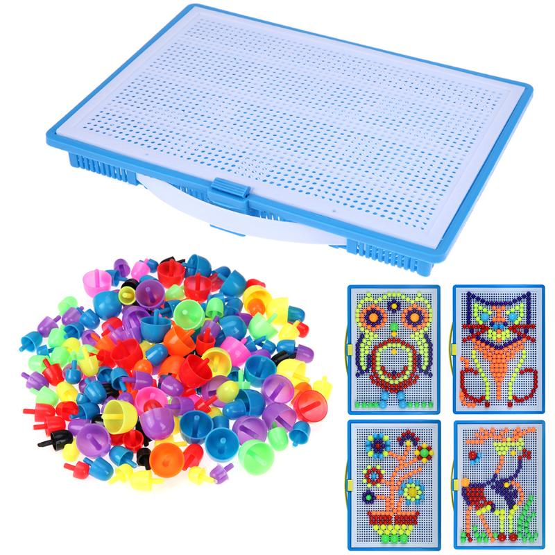 620pcs 930pcs Plastic Mushroom Nail Flapper Set 3D Mosaic Picture Puzzles Mosaic Toy for Children Kids Educational Toys