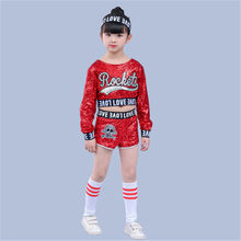 Kinder Hip-Hop-Red Pailletten Hip Hop Dance Kostüm Schädel Pailletten Shorts Sparkly Bühne Jazz Dance Mädchen Moderne Bühne Dance kostüme(China)
