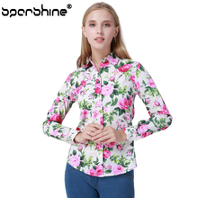 SPARSHINE Floral Blouse Shirt Women Tops Cotton Shirts Blouses Rose Small Flower Blusas Mujer De Moda 2017 Plus Size