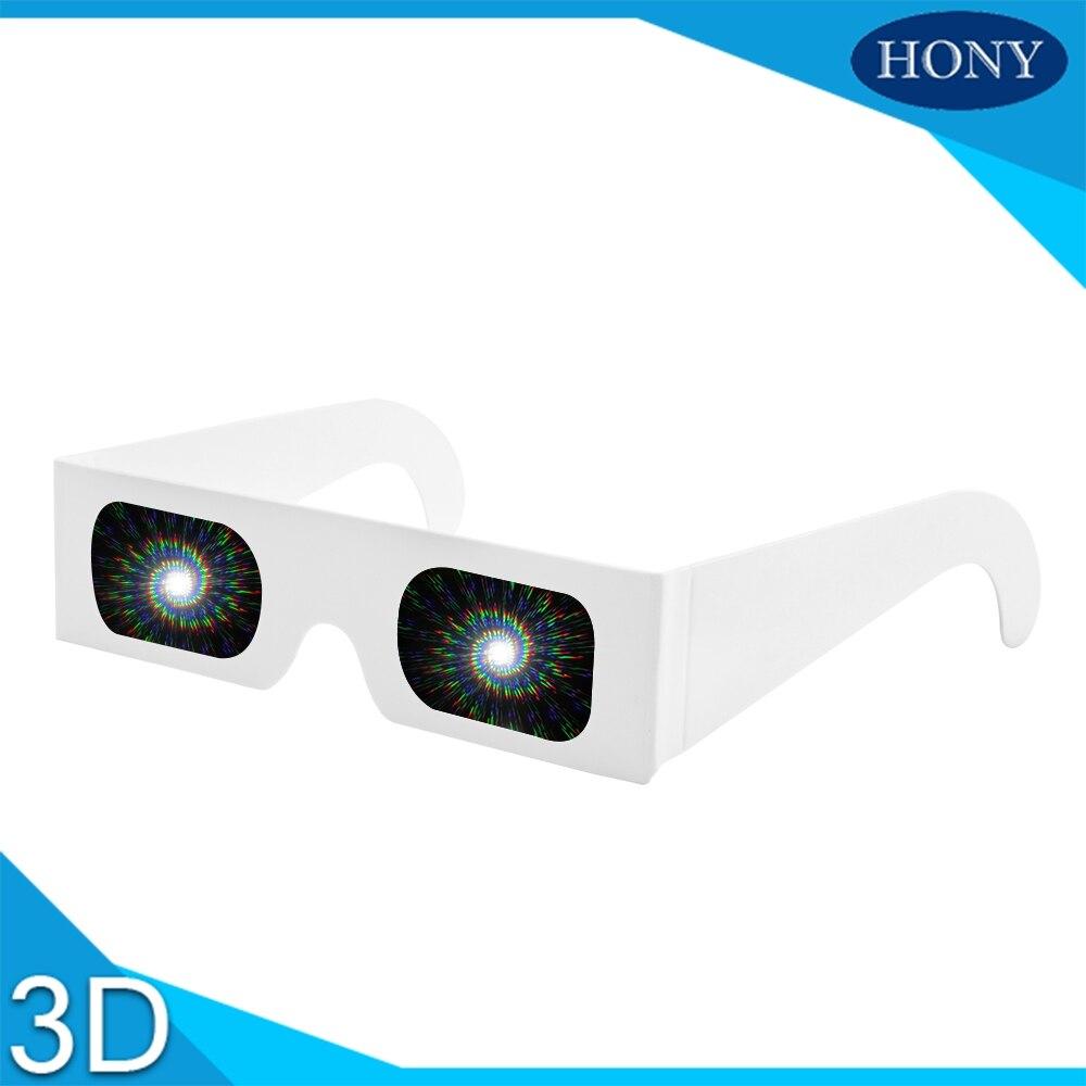 3d Glasses/ Virtual Reality Glasses 20pcs Packs Promotion Gift 3d Raves Prism Glasses,paper Light 3d Diffraction Fireworks Gratings Glasses Spirals/13500 Lines Lens