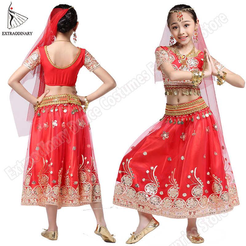 Kızlar Bollywood dans kostümü seti çocuklar oryantal dans hint Sari çocuk şifon kıyafet cadılar bayramı üst kemer etek peçe başlığı