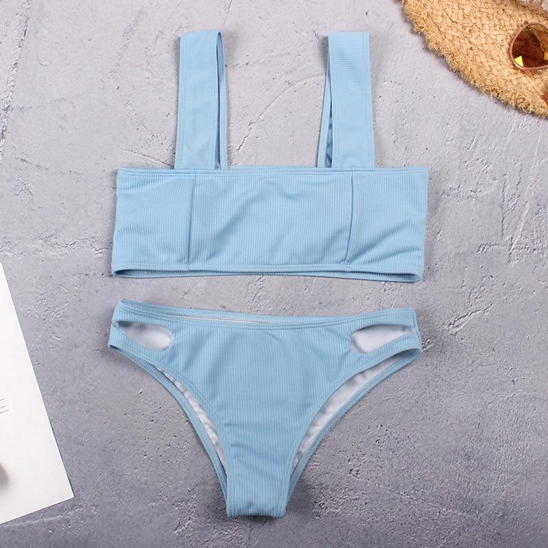 Sexy Bikini 2019 Swimsuit Textured Swimwear Women Push Up Bikini Set Ladies Cut Bottom Swimming Bathing Suit Wide Band Biquini 1