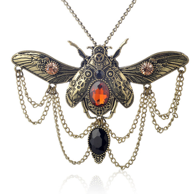 Insect Beetle Steampunk Necklace1