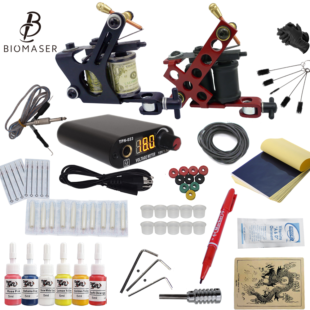 Complete Tattoo Machine Kit Set Coils Guns 6 Colors Pigment Sets Power Tattoo Beginner Grips Kits Permanent Makeup 2018 Newest professional tattoo kit 5 guns complete machine equipment sets teaching cd ink for beginners body art beauty tools tk 2509 m