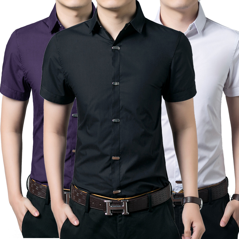 New casual men shirt short sleeve elastic slim fit black for Mens black short sleeve dress shirt