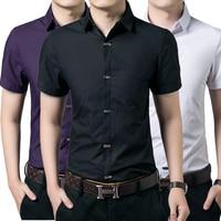 New Casual Men Shirt Short Sleeve Elastic Slim Fit Black Shirt Men Solid Color Mens Dress Shirts Men Clothes XXXXL