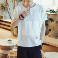T shirt Mens Tops Harajuku Chinese Style Men's Linen Off White Tops Riverdale Hip Hop 2018 Summer Fashion Slim Dry Fit Tee Shirt