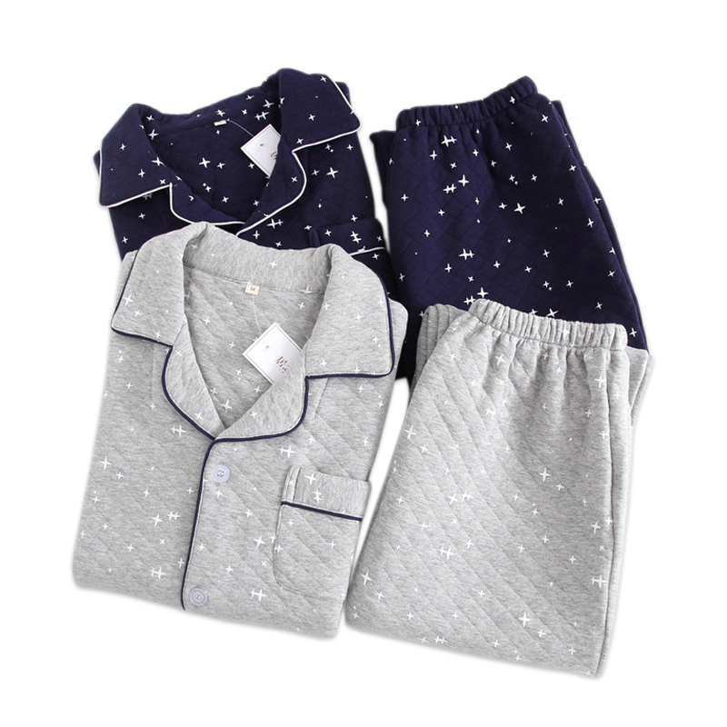 Keep Warm Men Winter Pajama Set Thicken 100% Cotton Scuba Starry Sky Fashion Long-sleeved Home Wear  Cotton Pyjamas Men