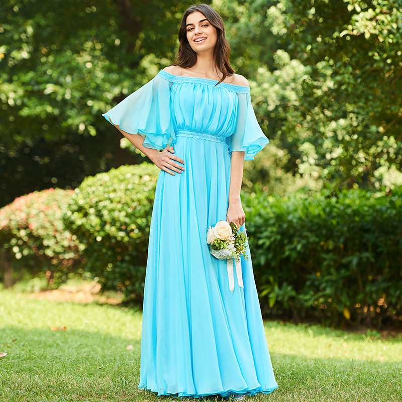Tanpell long off the shoulder a line   bridesmaid     dresses   women ice blue half sleeves wedding party plus customed   bridesmaid     dress