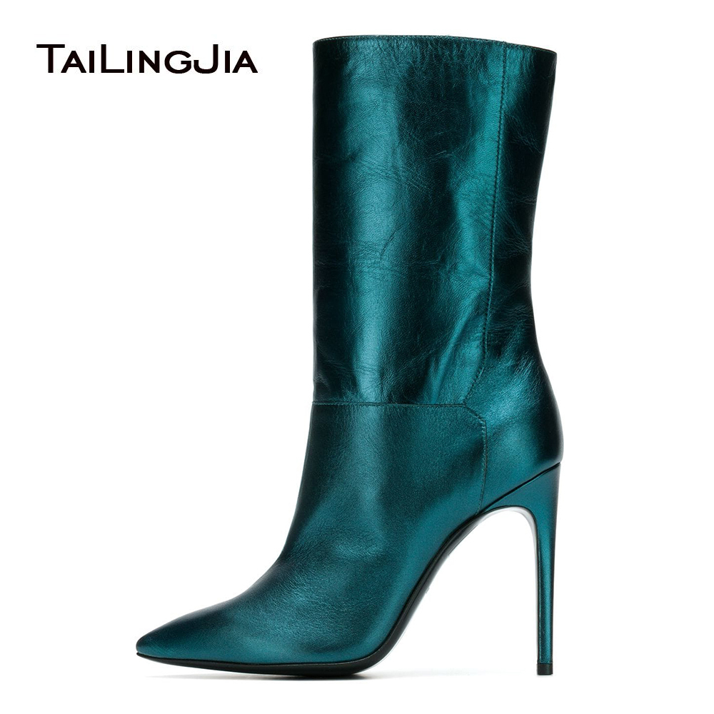 Metallic Blue Pointed Toe High Heel Mid Calf Boots Women Black Stiletto Short Booties Ladies Slip on Winter Shoes Big Size 2018