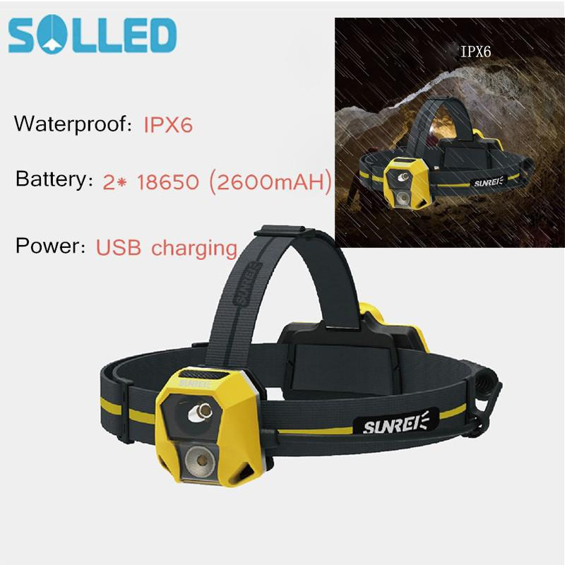 SOLLED USB Charging Double Light Caving Headlamp IPX6 Waterproof Head Light for Outdoor Activity Hunting