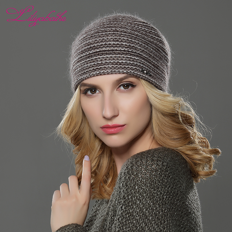 549515af477 LILIYABAIHE NEW Style Women Beanies winter hat knitted wool angora Striped  hats Exquisite letter decoration cap Double warm hat-in Skullies   Beanies  from ...