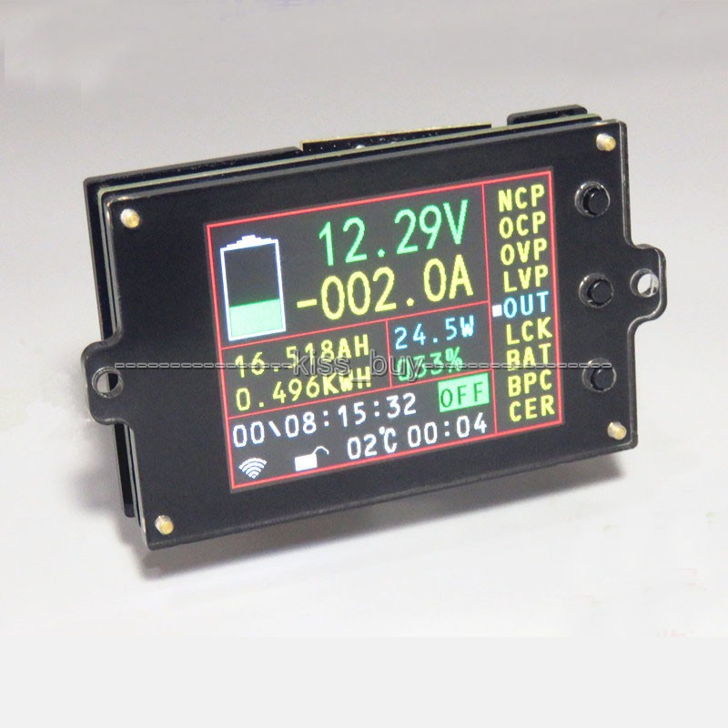 Battery Monitor 120V 100A Voltage Amp Power Capacity Meter Charge Discharge Test