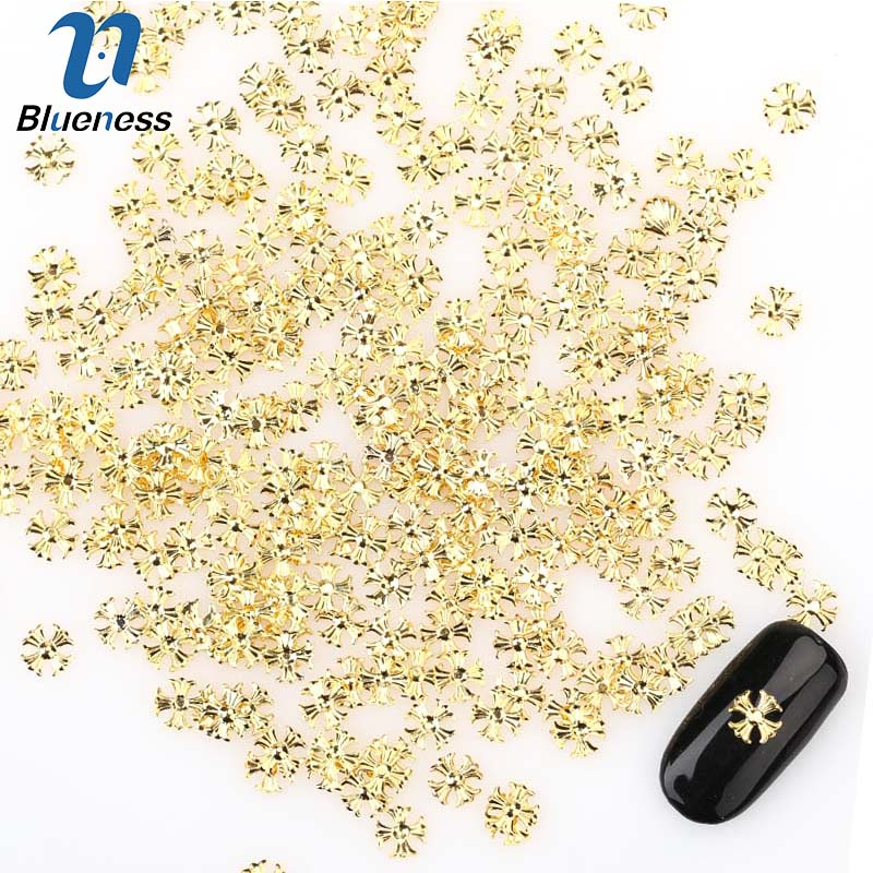6*6mm Plum Cross Gold Alloy Design Popular Japanese-style Manicure Nail Art Studs Accessory Beauty Nail Alloy Supplies DIY PJ534
