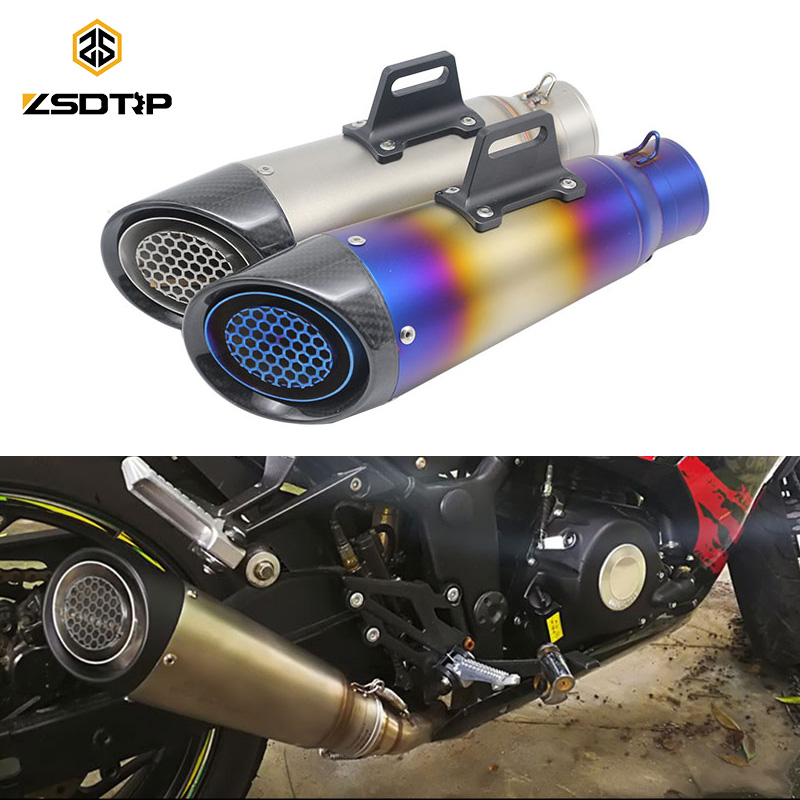 ZSDTRP 60mm Inlet Motorcycle Exhaust Pipe Muffler SC GP Escape Exhaust Mufflers Titanium Alloy Exhaust Pipe zs racing 51mm motorcycle exhaust muffler sc gp escape exhaust mufflers carbon fiber exhaust pipe for z1000 z750 z800 ninja250
