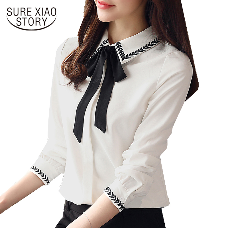 d6eb266b757 2018 new spring long sleeved blouses women tops white solid bow shirts  office lady style elegant fashion women clothing d366 30 in Pakistan