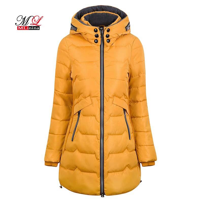 MLinina 2018 зимняя куртка женская с капюшоном теплая плюс Размер 6xl 7xl хлопковое пальто с подкладкой Женская тонкая длинная куртка Женская парка ...