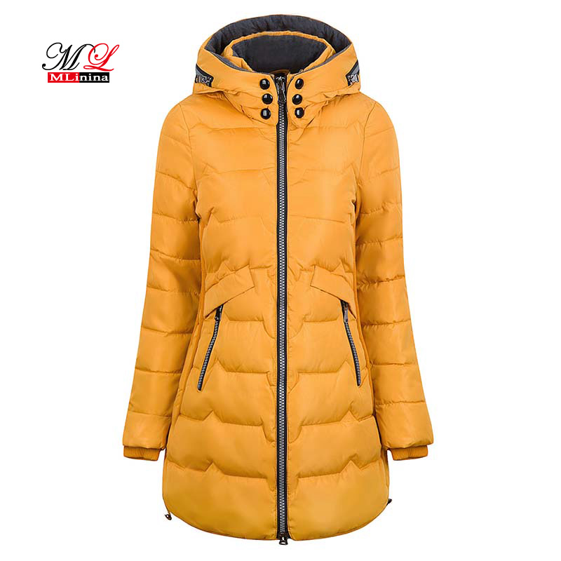 MLinina 2018 Winter Jacket Women Hooded Warm Plus Size 6xl 7xl Cotton Coat Padded Female Slim Long Jacket Women   Parka   Outwear