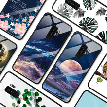 Tempered Glass Back Cover Pattern Phone Case For Samsung Galaxy S9 S8 Plus Note 8 Fashion Cartoon Phone Shell Soft Edge Coque