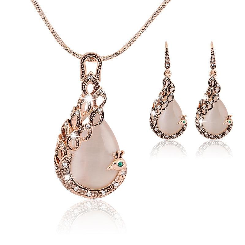 2015 Fashion 18k Rose Gold Austria Crystal Women Shiny Rhinestone Opal Peacock Pendant Necklace/Earrings Wedding Jewelry Sets Пирсинг ушей