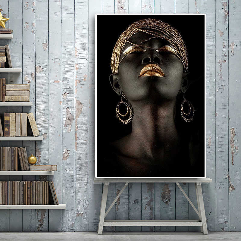 Black Gold Canvas Nordic Style HD Prints African Woman Painting Wall Art Poster Modern Home Decor Modular Pictures Living Room