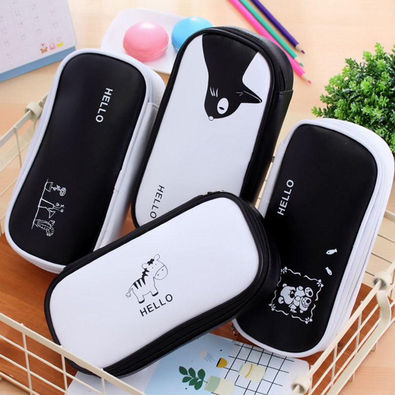 Black and White Styles Two zipper Cute Animals Pencil Bag Pen Case School Stationery Storage Bag Material Ecolar Office Supplies new fresh look and cute animals design double end highlighter pen fluorescent pen stationery office material school supplies