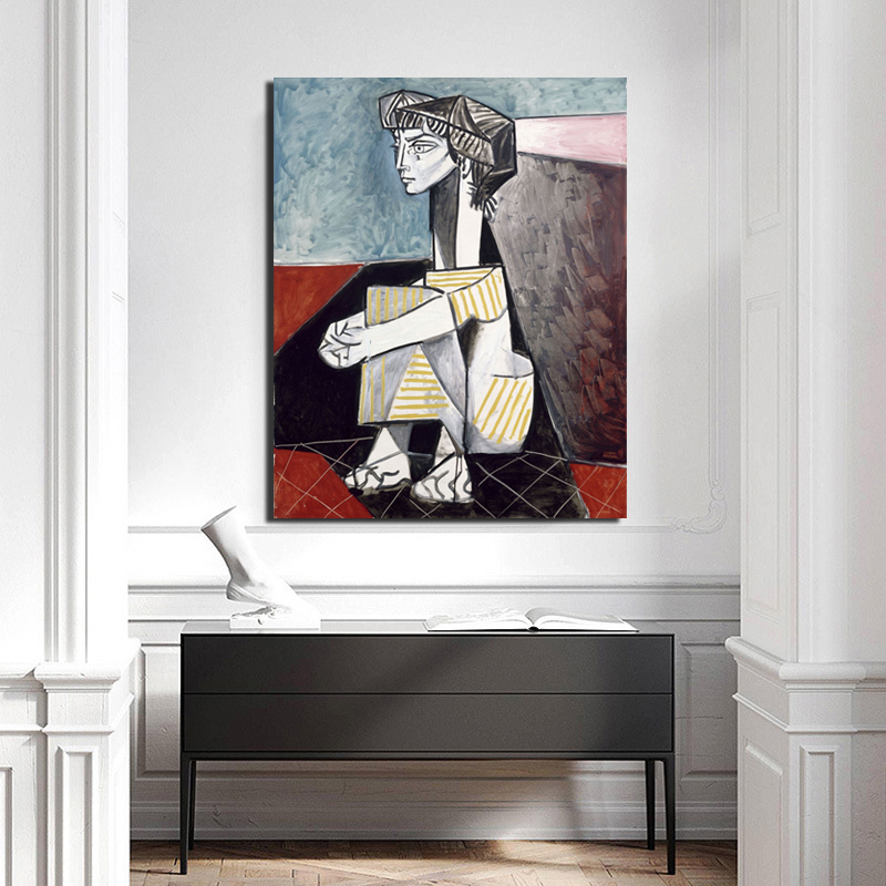 Pablo Picasso Jacqueline With Crossed Hands Canvas Painting Print Living Room Home Decor Modern Wall Art Oil Painting Posters HD in Painting Calligraphy from Home Garden